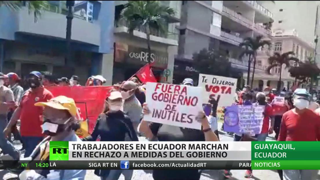Trabajadores marchan en Ecuador contra las medidas laborales del Gobierno