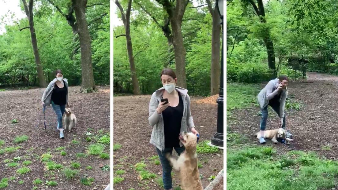 """VIDEO: Una mujer llama a la Policía diciendo que """"un afroamericano la está amenazando"""" después de que un hombre le pida que ate a su perro con correa"""