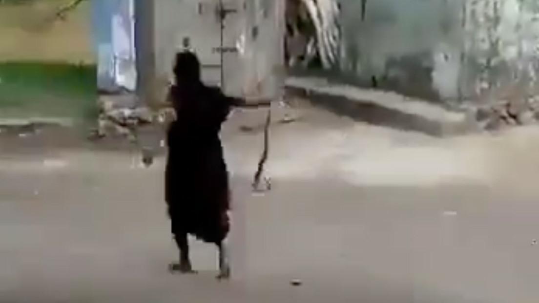VIDEO: Una anciana arrastra una cobra viva sujetándola por la cola