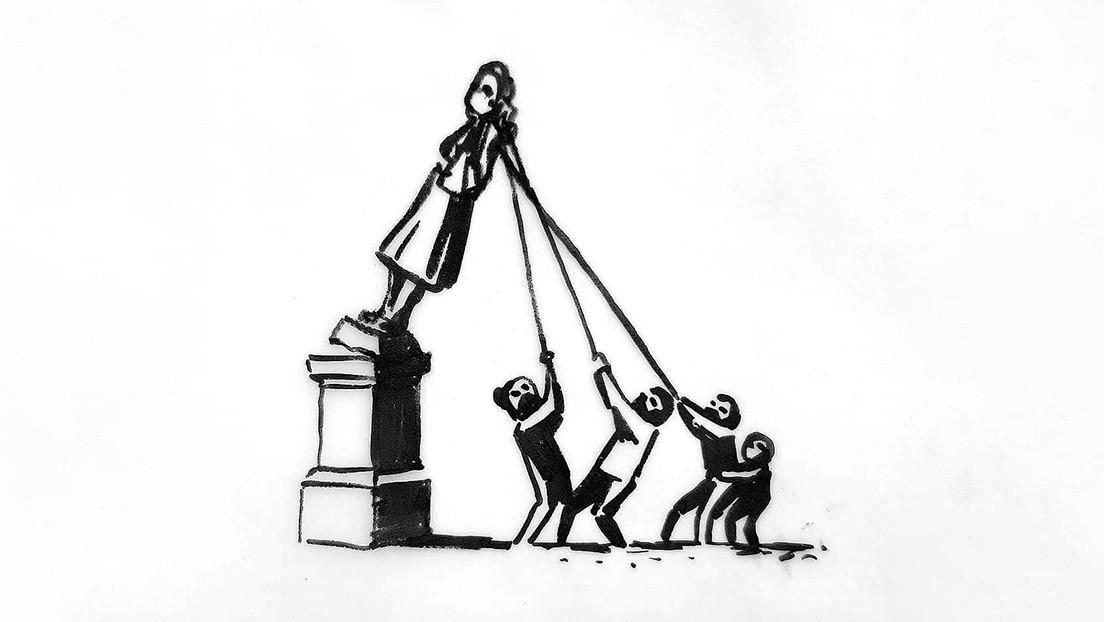 Banksy propone un nuevo monumento para reemplazar la estatua derribada por manifestantes en Bristol