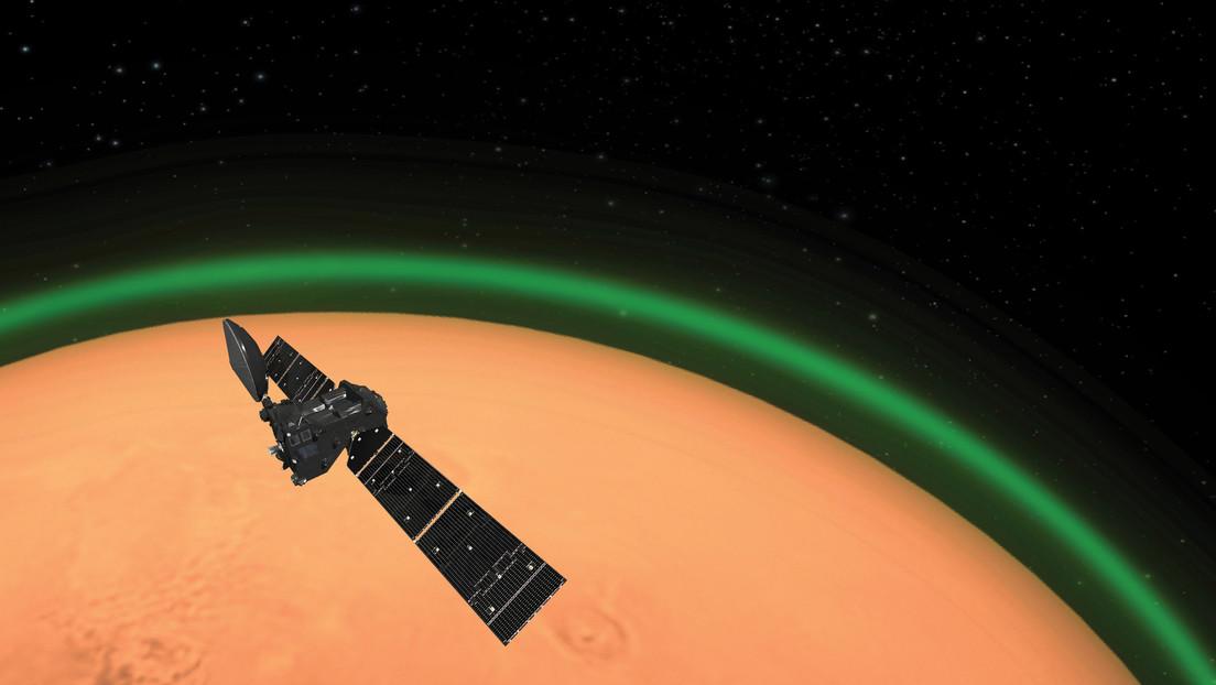 Detectan por primera vez un resplandor verdoso en la atmósfera de Marte
