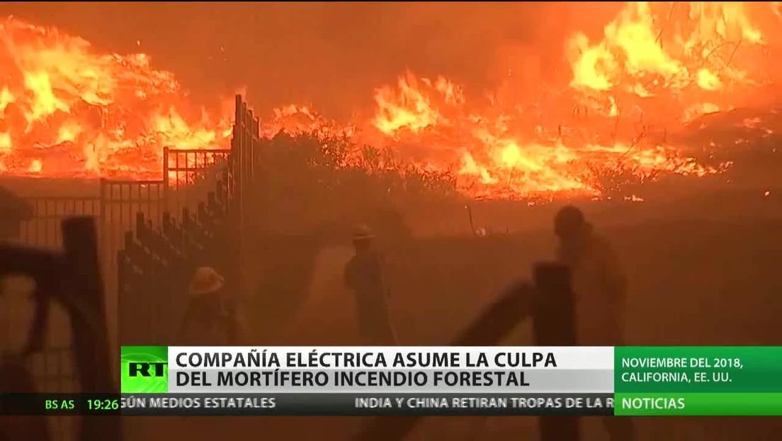 Una compañía eléctrica asume la culpa del mortífero incendio de California en 2018