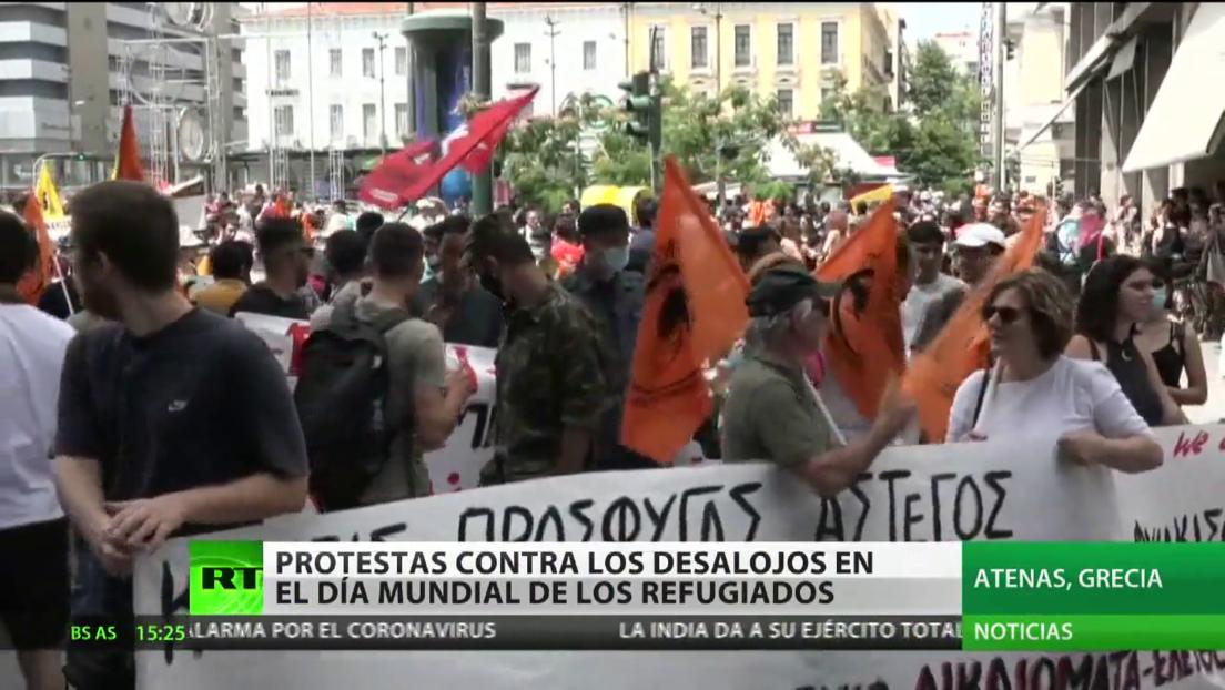 Protestas contra los desalojos en el Día Mundial de los Refugiados en Grecia