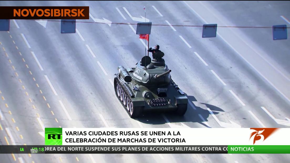 Varias ciudades rusas acogen desfiles con motivo de la celebración del 75º. aniversario del Día de la Victoria