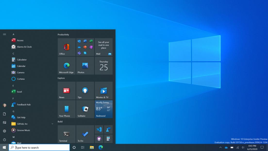 Microsoft presenta el nuevo diseño del menú de inicio de Windows 10