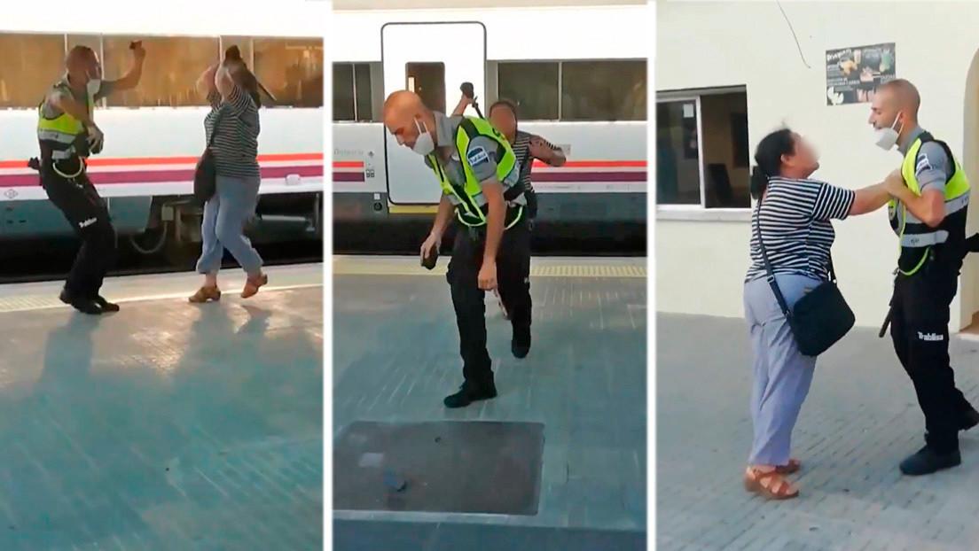 VIDEO: Una mujer agrede brutalmente a un vigilante de tren en Barcelona tras robarle la porra