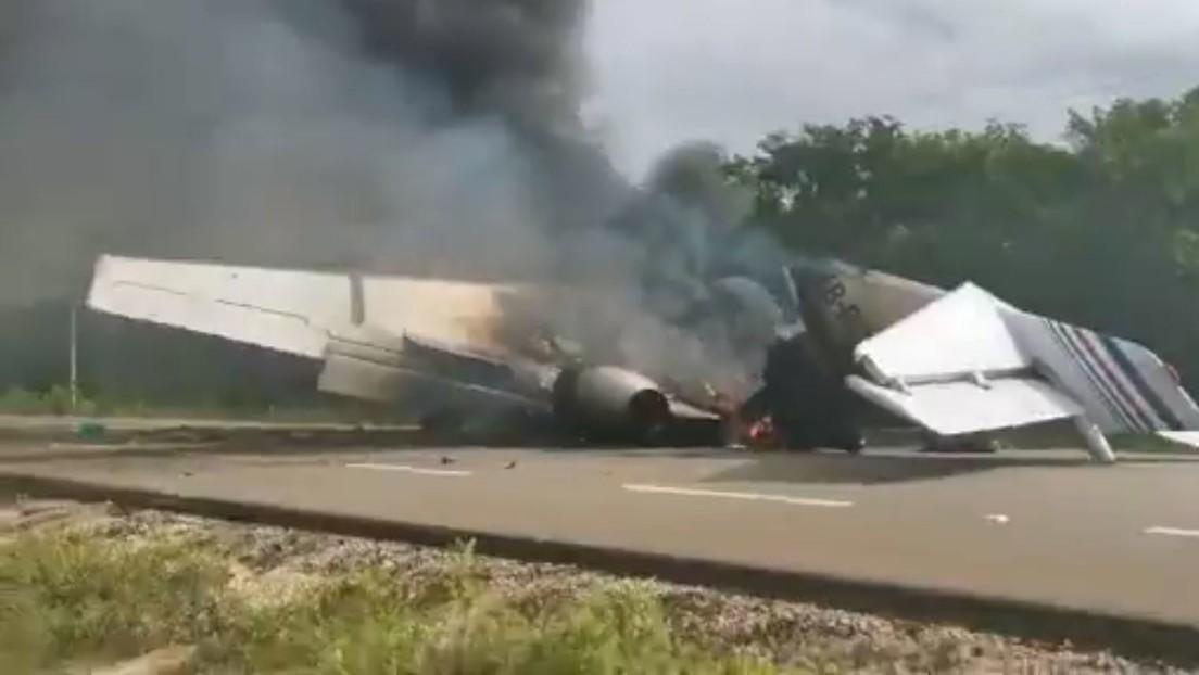 Aeronave que se incendió en México transportaba 390 kilos de cocaína