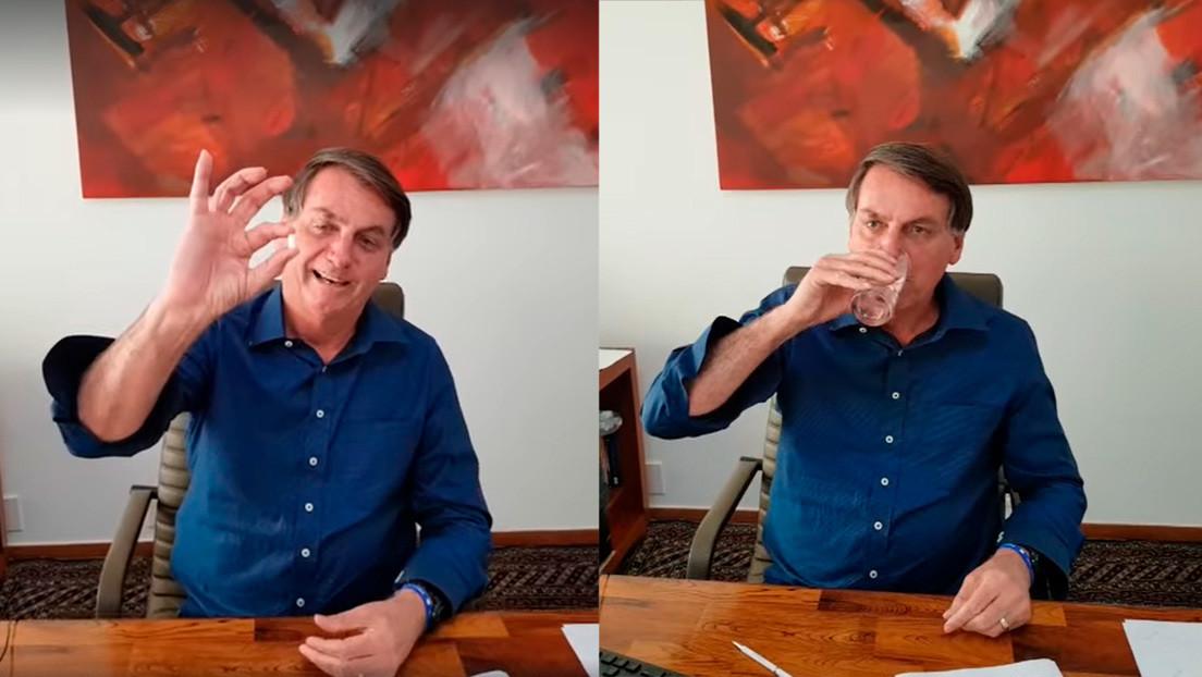 """""""Me estoy sintiendo muy bien"""": Bolsonaro publica un video tomando hidroxicloroquina tras su positivo por covid-19"""