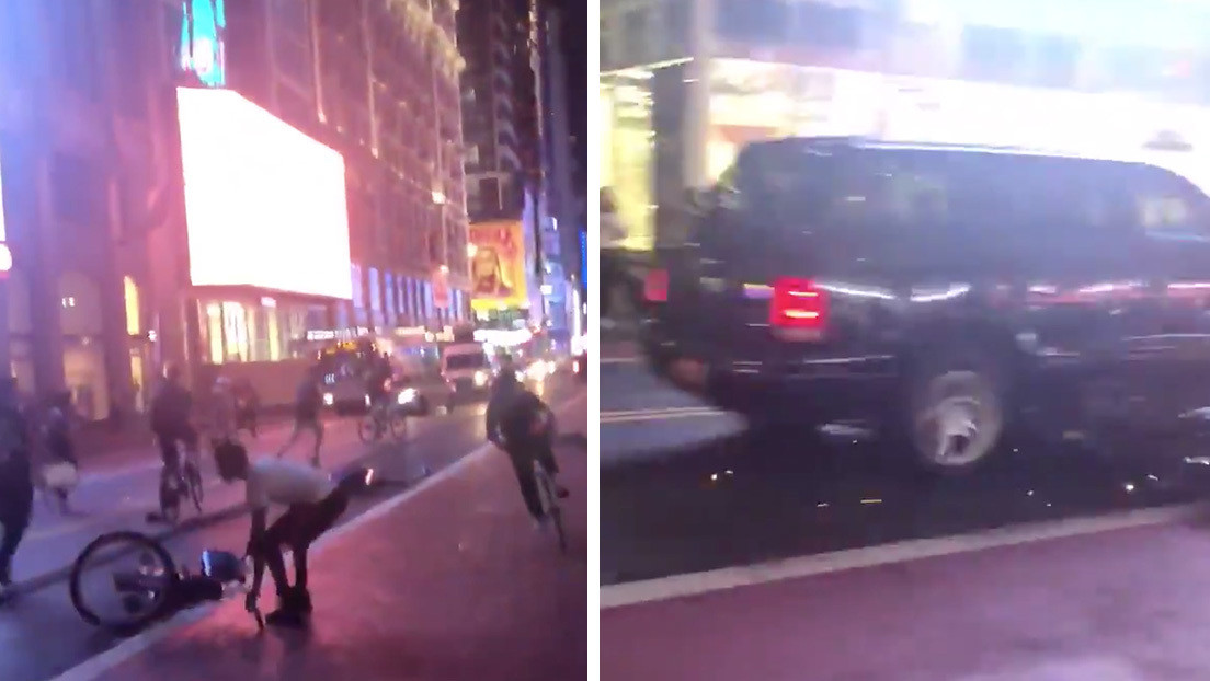 VIDEOS: Una camioneta todoterreno atraviesa una multitudinaria manifestación contra el racismo en Nueva York