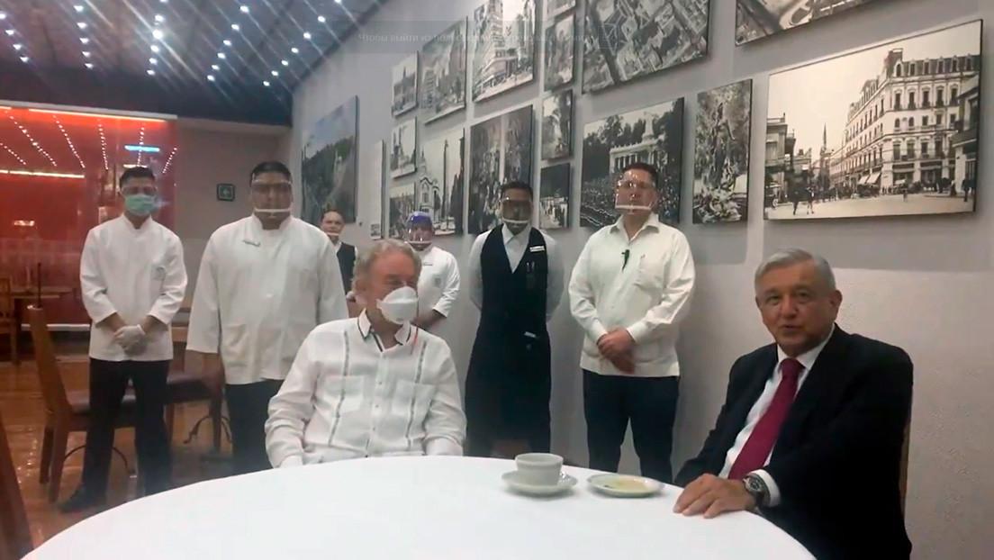 López Obrador agradece al dueño de un restaurante por no despedir trabajadores durante la crisis del covid-19 (VIDEO)