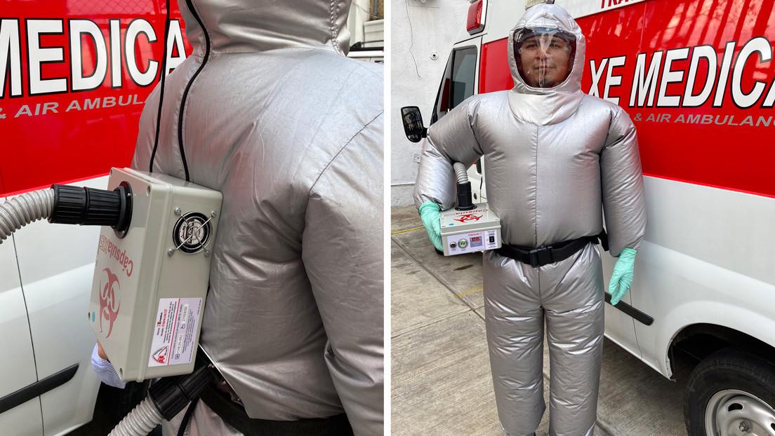 VIDEO: Crean un traje inflable que protege del covid-19 y mantiene frescos a los paramédicos en México