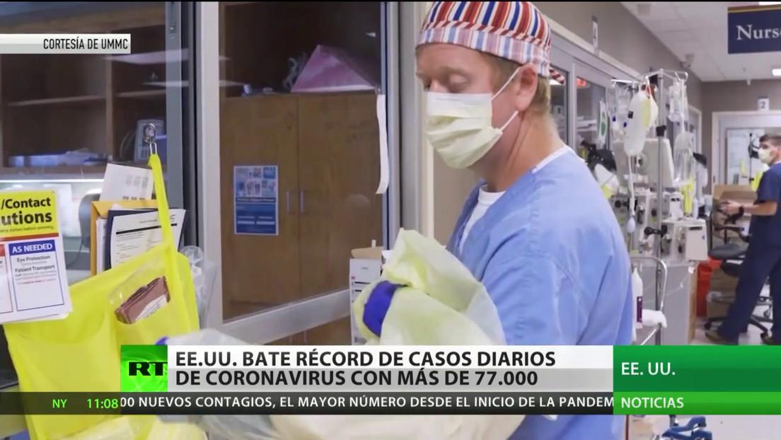 EE.UU. bate un nuevo récord de contagios con más de 77.000 casos de covid-19 diarios