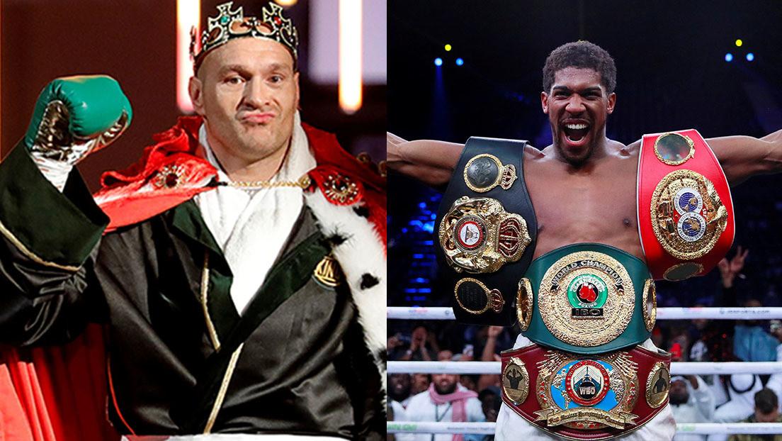 FOTO: Los campeones mundiales de los pesos pesados Tyson Fury y Anthony Joshua se encuentran cara a cara aunque no para pelear