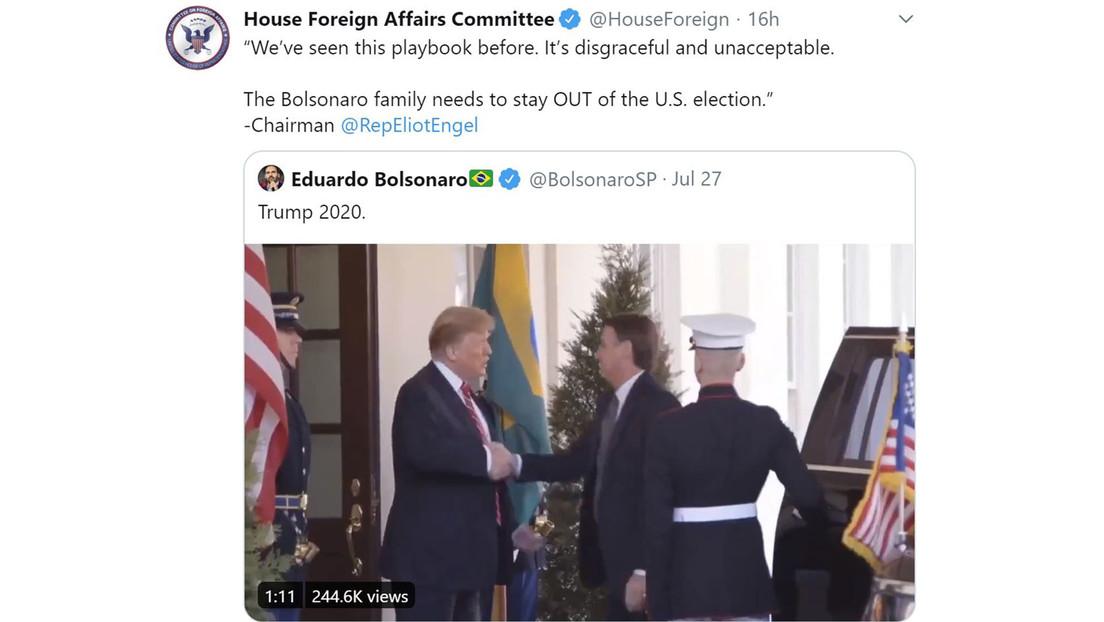 """Un comité de la Cámara de Representantes afirma que la familia Bolsonaro """"necesita mantenerse al margen"""" de las elecciones estadounidenses"""