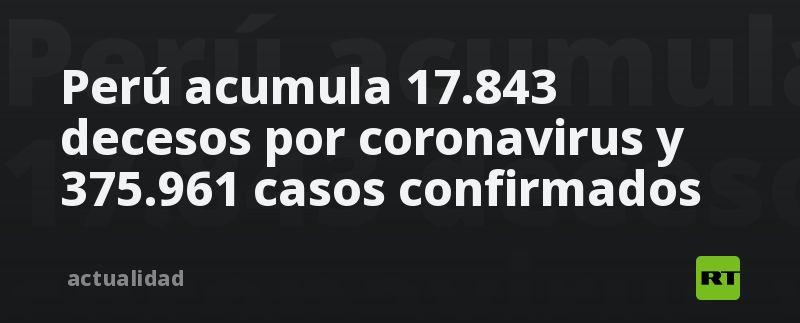 Perú acumula 17.843 decesos por coronavirus y 375.961 casos confirmados thumbnail