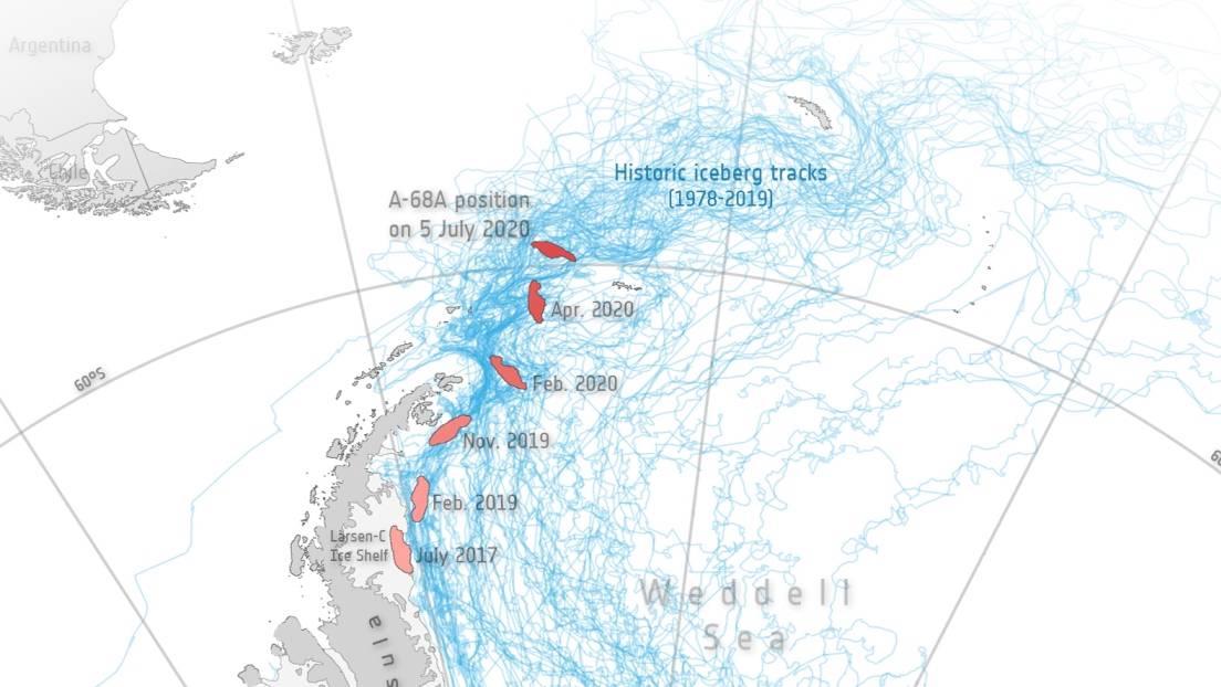 Un mapa que muestra el recorrido del iceberg A-68 en tres años, desde la barrera de hielo Larsen C hasta su posición en el sur del océano Atlántico.