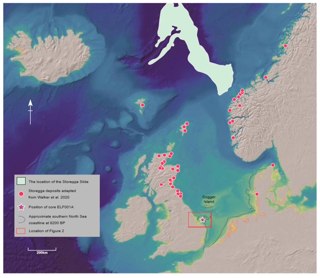 Localización del depósito de sedimentos analizado en el estudio actual (estrella) y de otros depósitos descritos previamente (puntos rojos). La línea punteada muestra las costas que existían hace 8.200 años.