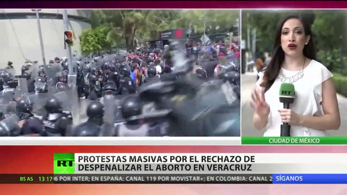 Protestas masivas por el rechazo de despenalizar el aborto en el estado mexicano de Veracruz