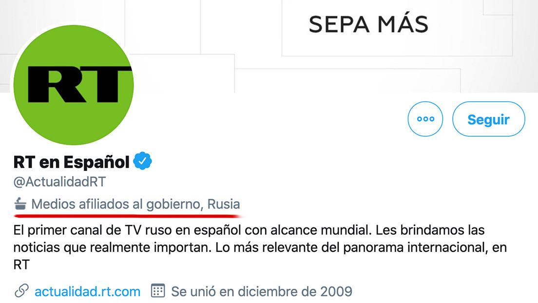 Twitter marca RT y Sputnik como medios afiliados al Gobierno ruso, pero obvia la misma mención con la BBC, NPR o VOA