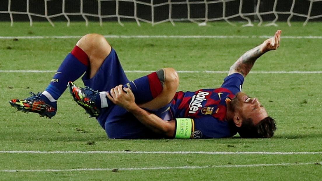 Con una lesión en el tobillo, Messi reaparece para continuar su recuperación y no perderse los cuartos de final de la Champions