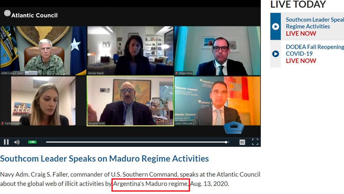 """¿""""Régimen argentino de Maduro""""? El error 'geográfico' en un video del Departamento de Defensa de EE.UU."""
