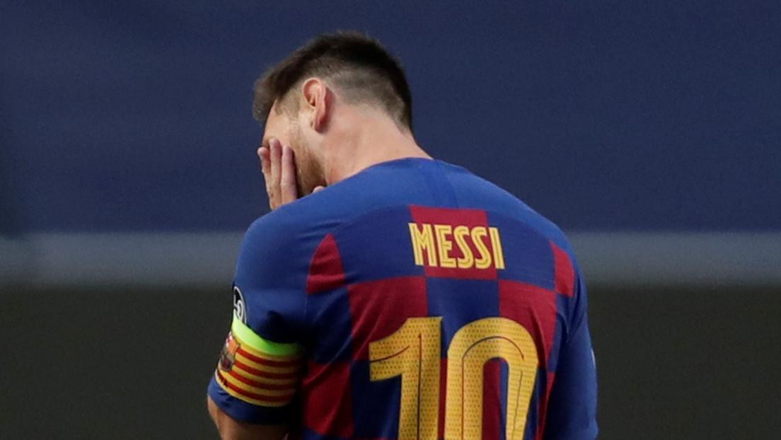 La imagen de Messi en el vestuario durante la goleada del Bayern al Barcelona que ha dado que hablar