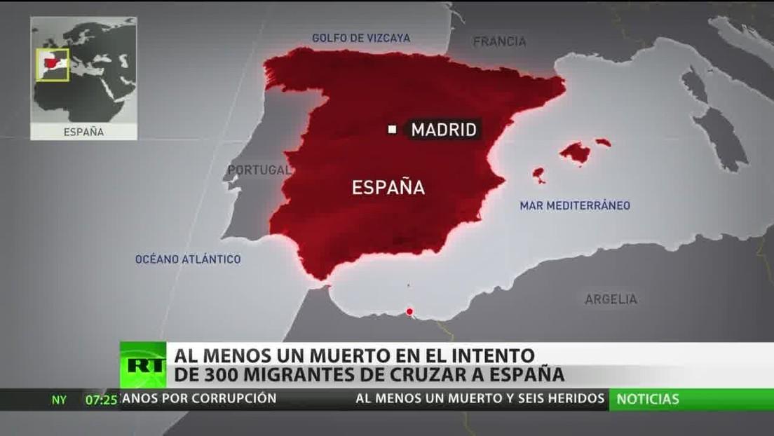Un muerto y tres guardias heridos en el intento de 300 migrantes de cruzar a España