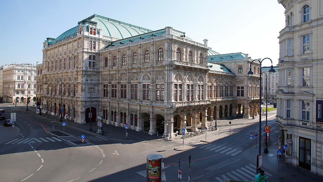 The opera house and empty streets are seen in Vienna