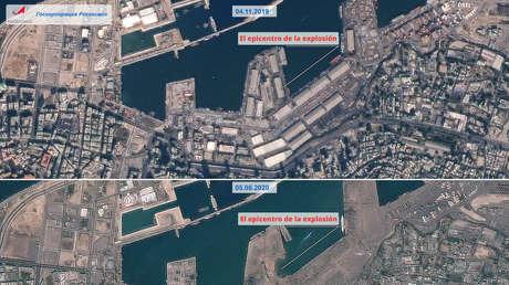 Imágenes satelitales de Beirut tras la explosión: los edificios cerca del puerto fueron destruidos hasta los cimientos