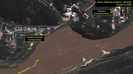 Imágenes satelitales sugieren que la central nuclear de Corea del Norte podría estar amenazada por las recientes inundaciones