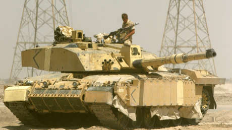 British Army Challenger tank guards near oil refinery in Basra.