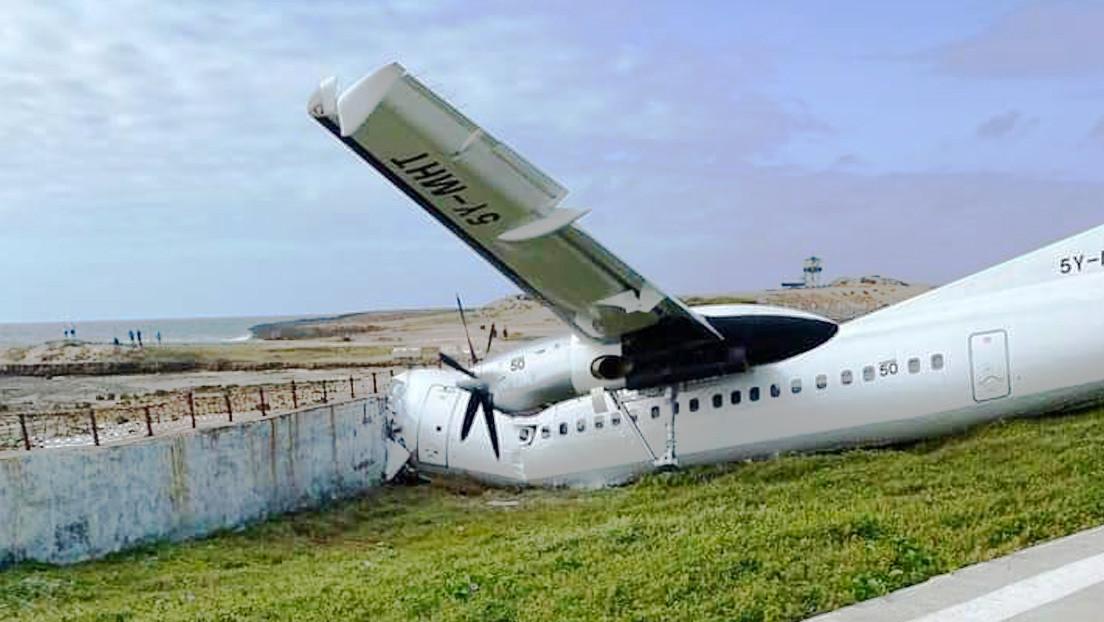Un avión de carga se sale de pista y se estrella contra una valla cuando aterrizaba en la capital de Somalia (FOTOS)