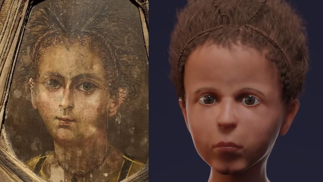 FOTOS: Reconstruyen el rostro de un niño egipcio de hace más de 2.000 años mediante tomografía computarizada y un 'retrato de la momia'