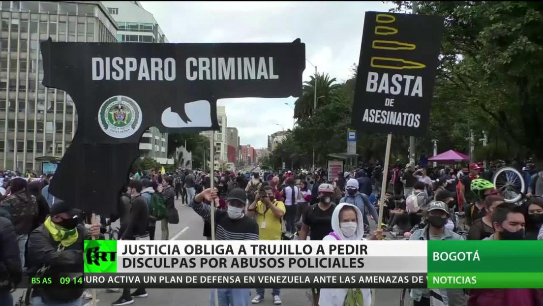 Ordenan al Ministerio de Defensa colombiano pedir disculpas por los excesos registrados durante las manifestaciones de 2019