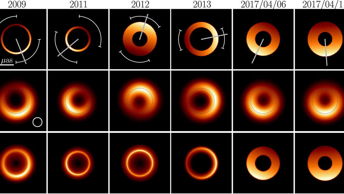 Nuevas imágenes del primer agujero negro 'fotografiado' muestran cómo se transforma durante años