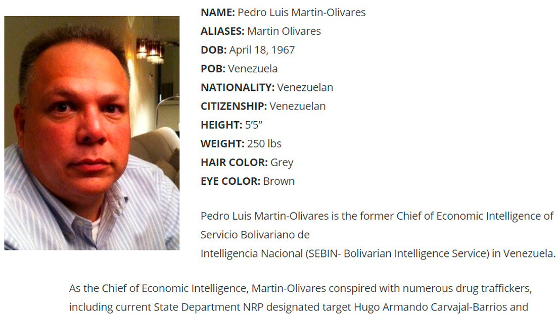 EE.UU. ofrece 10 millones de dólares por información que conduzca al arresto del exjefe de inteligencia de Venezuela Pedro Luis Martín Olivares