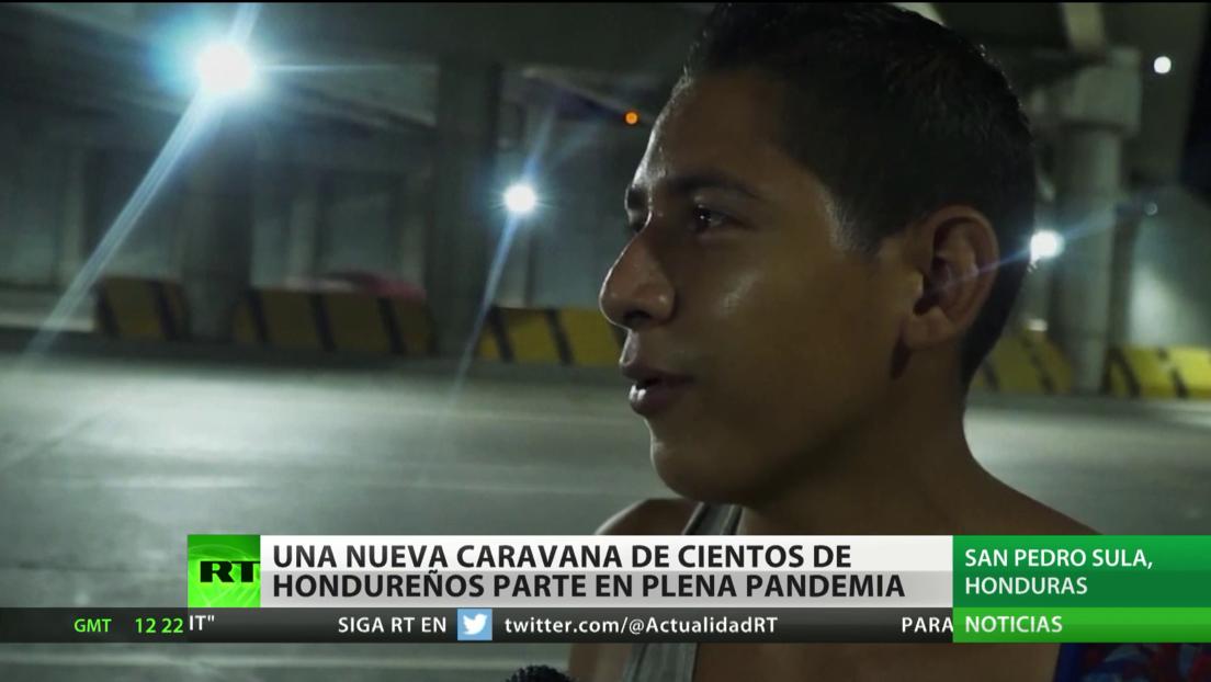 Una nueva caravana de cientos de hondureños parte a EE.UU. en plena pandemia