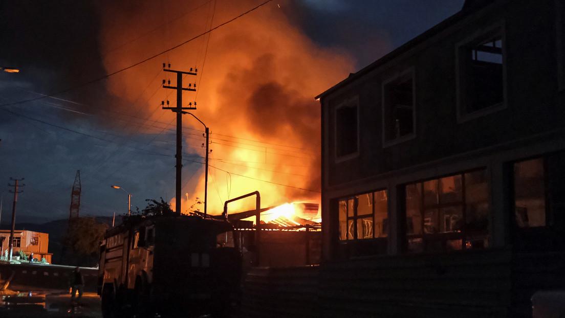 Arde una central eléctrica en Stepanakert tras ataques