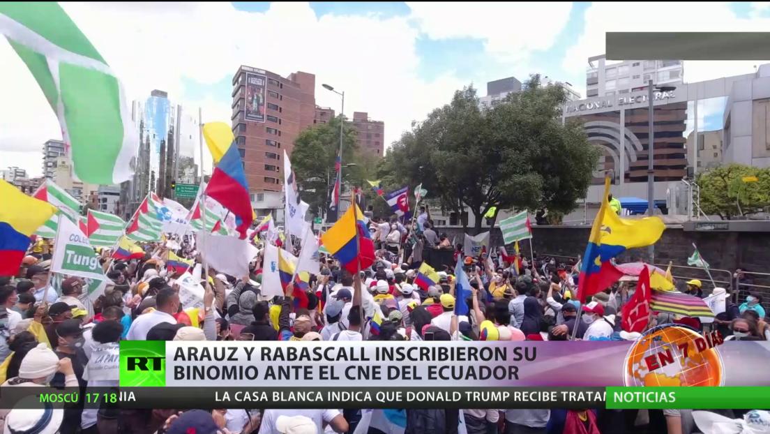 Arauz-Rabascall inscribieron su binomio ante el CNE de Ecuador