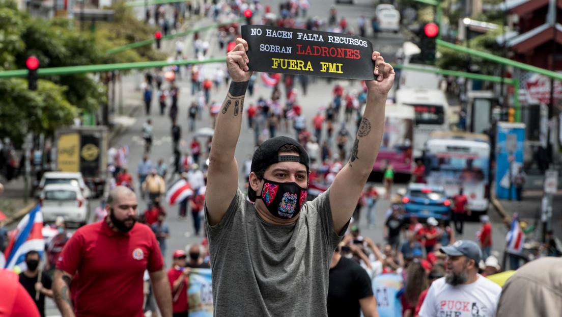 Continúan protestas en Costa Rica contra un préstamo del FMI por 1.750 millones de dólares, pese a que el Gobierno retiró la propuesta inicial