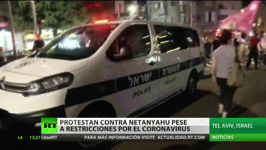 Protestan contra el primer ministro israelí pese a las restricciones por el coronavirus