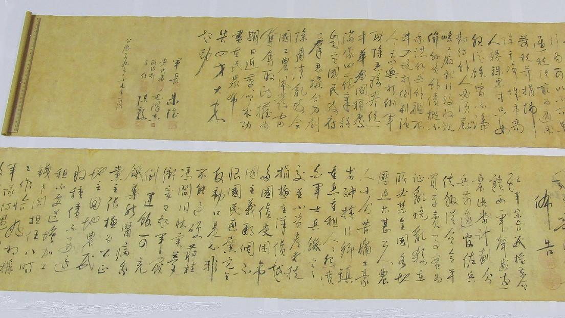"Un comprador parte en dos un pergamino con caligfrafía de Mao Zedong porque era ""demasiado largo"""