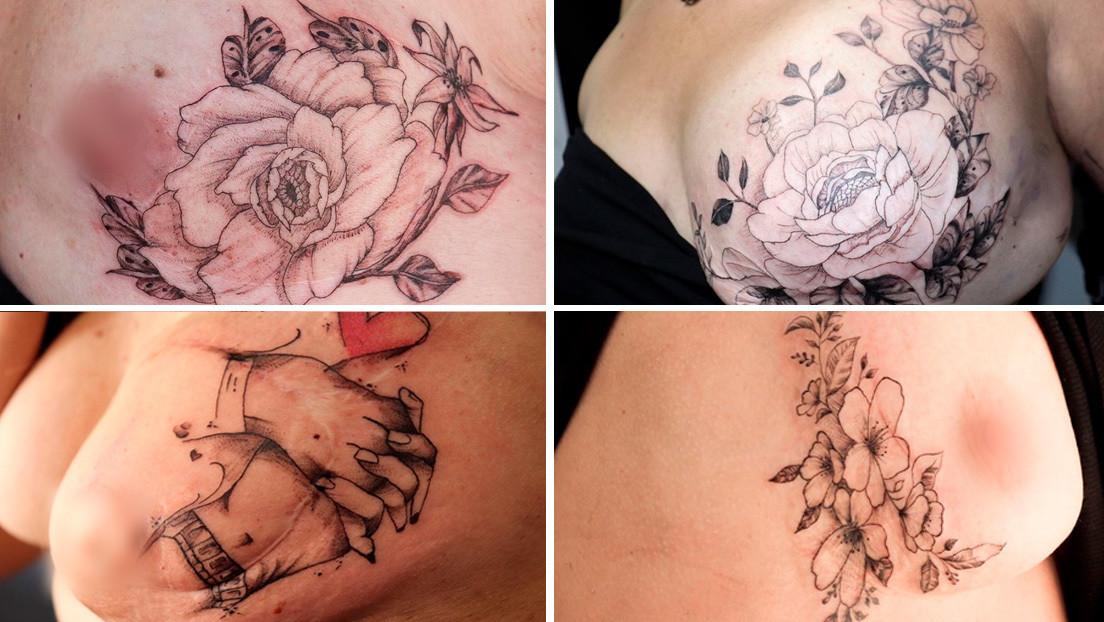 """""""Cubrir cicatrices y aumentar la autoestima"""": Una madre y su hijo viajan en un estudio móvil para tatuar a mujeres que tuvieron cáncer de mama (VIDEO)"""