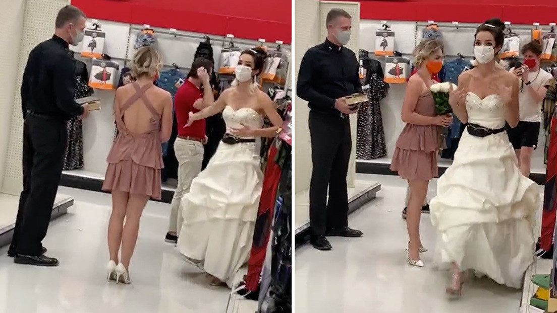 VIDEO: Una mujer vestida de novia llega con un cura al trabajo de su novio y le lanza un ultimátum