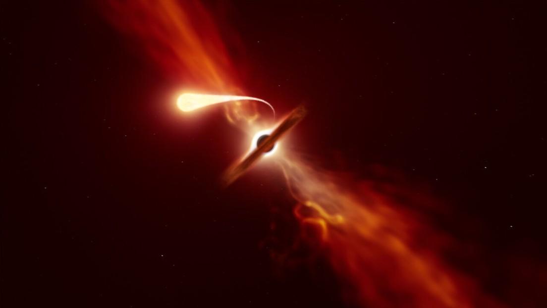 """""""Muerte por espaguetis"""": los astrónomos detectan cómo un agujero negro supermasivo 'devora' una estrella"""