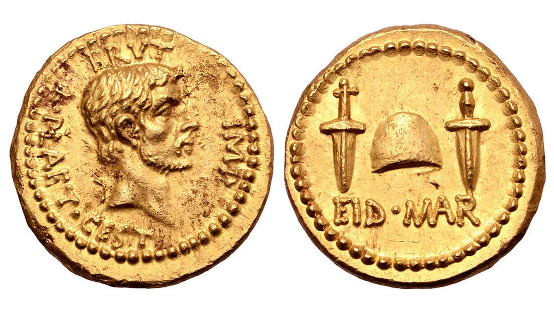 Sale a subasta una antigua y rara moneda que celebra el asesinato de Julio César (FOTO)
