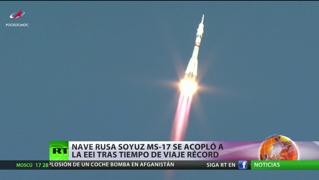 La nave rusa Soyuz MS-17 se acopla a la Estación Espacial Internacional en un tiempo récord