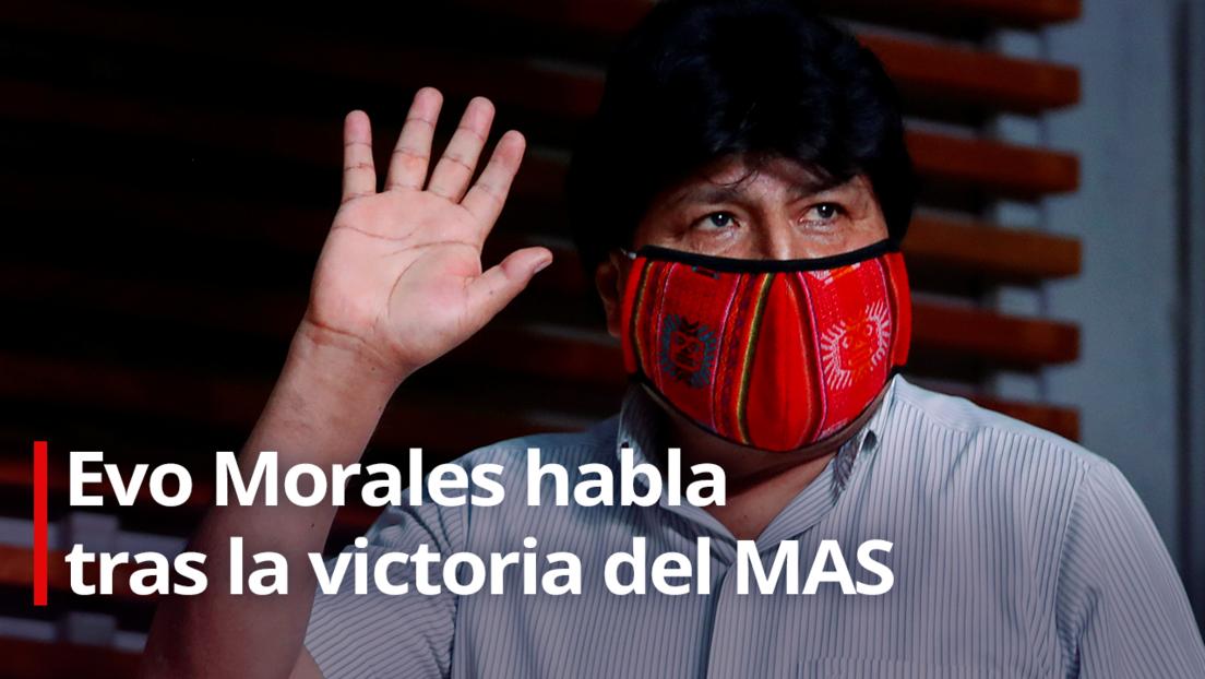"""""""Devolveremos la dignidad y la libertad al pueblo boliviano"""", dice Evo Morales tras la victoria de Luis Arce en las elecciones de este domingo"""