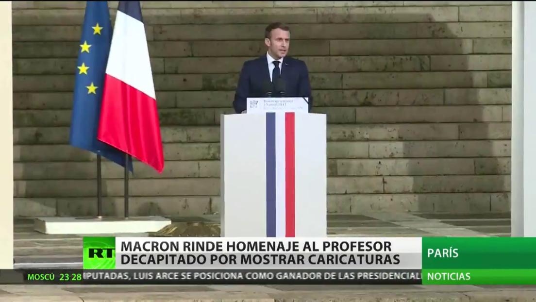 Macron rinde homenaje al profesor francés decapitado por mostrar en clase caricaturas del profeta Mahoma