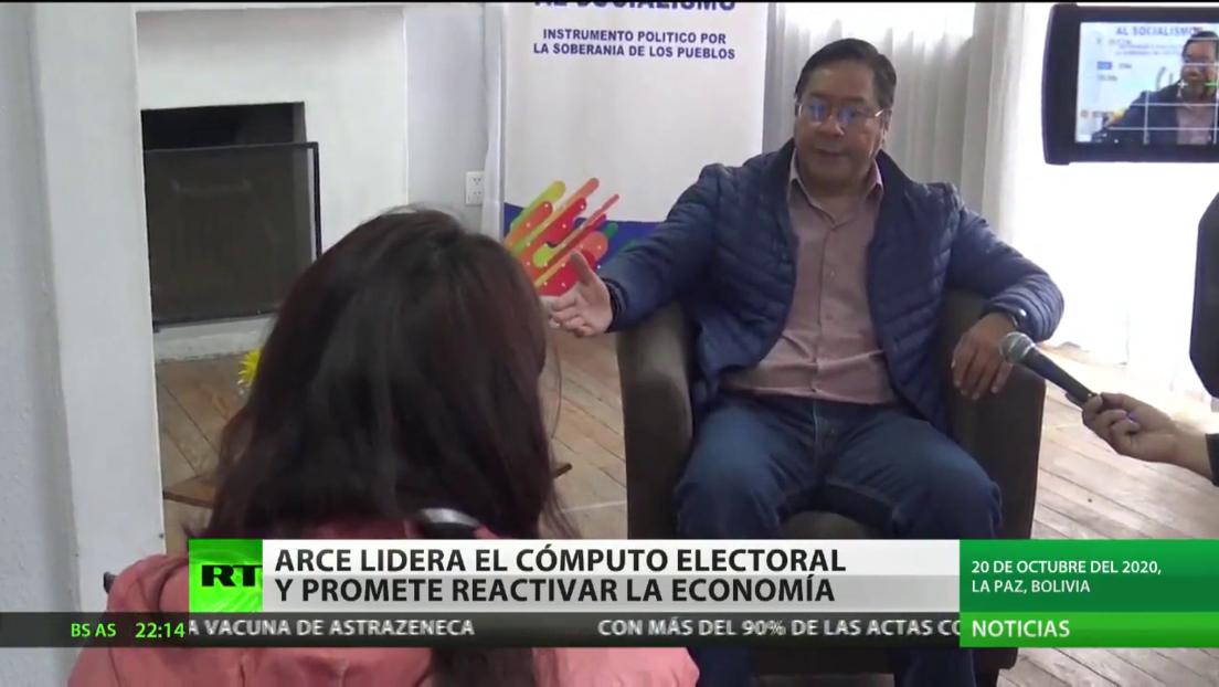 Luis Arce sigue liderando el cómputo electoral en Bolivia y promete reactivar la economía